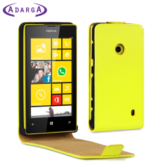 Adarga Leather Style Nokia Lumia 525 / 520 Flip Case - Neon Yellow