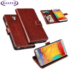 Adarga Leather-Style Samung Galaxy Note 3 Neo Wallet Case - Brown