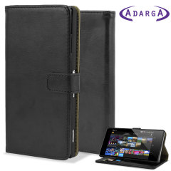 Adarga Leather-Style Wallet Stand Case for Sony Xperia Z2 - Black
