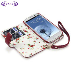 Adarga Samsung Galaxy S3 Leather-Style Wallet Case - Red Floral