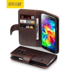 Adarga Samsung Galaxy S5 Genuine Leather Wallet Case - Brown
