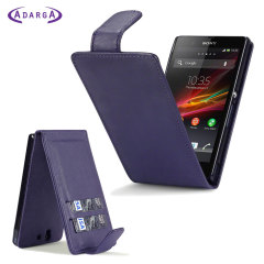 Adarga Sony Xperia Z Wallet Flip Case - Purple