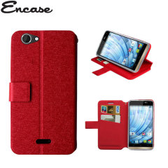 Adarga Stand and Type Wiko Getaway Wallet Case - Red