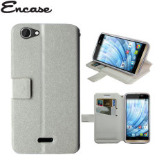 Adarga Stand and Type Wiko Getaway Wallet Case - White