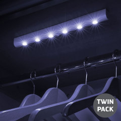 AGL Wireless 6 LED PIR Motion Sensor Strip Light - Twin Pack