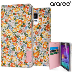 Araree Blossom Fabric Galaxy Note 4 Leather Diary Case - Bloom