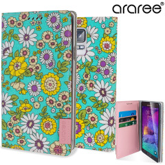 Araree Blossom Fabric Galaxy Note 4 Leather Diary Case - Mint