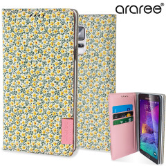 Araree Blossom Fabric Galaxy Note 4 Leather Diary Case - Spring