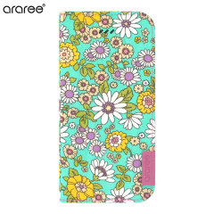 Araree Blossom Fabric iPhone 6 Plus Leather Diary Case - Mint