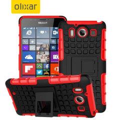 ArmourDillo Hybrid Protective Microsoft Lumia 950 Case - Red