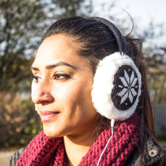 Audio Earmuff Headphones - Black Snowflake
