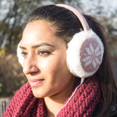 Audio Earmuff Headphones - Pink Snowflake