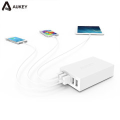 Aukey 5 Port USB Charging Station - White - UK Plug