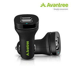 Avantree High Power Dual USB Car Charger for Phones / iPads / Tablets