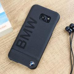 BMW Genuine Leather Samsung Galaxy S7 Edge Hard Case - Black