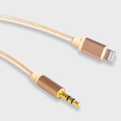 Braided Heavy Duty Lightning to 3.5mm Audio Cable - Gold