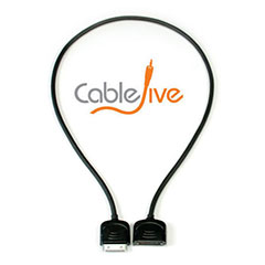 CableJive 30 Pin dockXtender for iPhone, iPad, and iPod - Black - 2ft