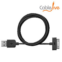 CableJive xlSync Extra Long 2M Dock Cable for Apple Devices - Black