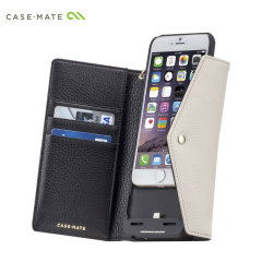 Case-Mate Leather Wallet iPhone 6S/6 Charging Case - Black/Sand