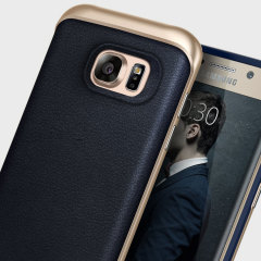 Caseology Envoy Series Galaxy S7 Edge Case - Navy Blue Leather