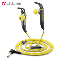 Cellular Line Kite Hands-free Sport Earphones - Grey / Yellow