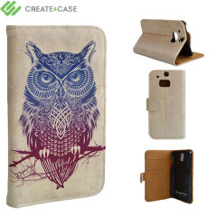 Create and Case HTC One M8 Book Stand Case - Warrior Owl