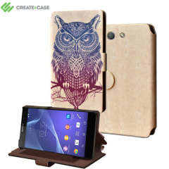 Create and Case Sony Xperia Z3 Compact Book Case - Warrior Owl