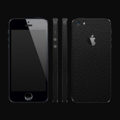 dbrand Textured Back & Frame Cover Skin iPhone 5S / 5 - Black Leather