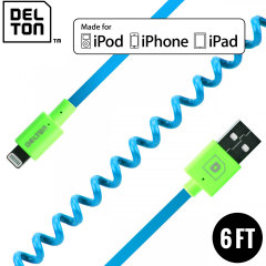 Delton Sync Charge Lightning Coiled FLEX Cable - Blue / Green