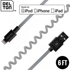 Delton Sync Charge Lightning Coiled FLEX Cable - Grey / Black