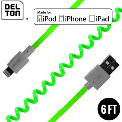 Delton Sync Charge Lightning Coiled FLEX Cable - Green / Grey