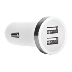 Dual USB Mini Car Charger Adapter 2400 ma - White