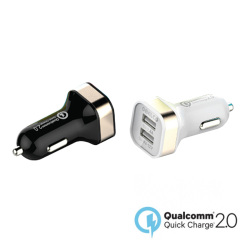Dual USB Qualcomm Quick Charge 2.0 Car Charger - White