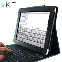 eKit iPad  2 / iPad 3 Folio Deluxe with Bluetooth Keyboard - Black