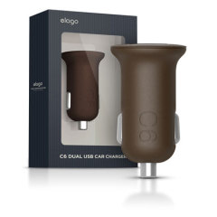 Elago Dual USB Car Charger 2.1 Amp - Brown