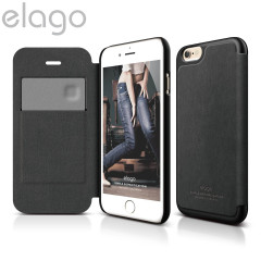 Elago Leather Flip Case for iPhone 6 - Black