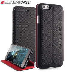 ElementCase Soft-Tec iPhone 6S / 6 Wallet Stand Case - Black and Red