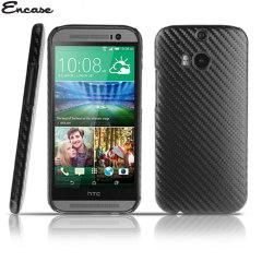 Encase Carbon Fibre-Style HTC One M8 Back Case - Black
