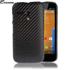 Encase Carbon Fibre-Style Moto G Back Case - Black