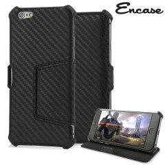Encase Carbon Fibre-Style Wallet Stand Case Stand for iPhone 6 - Black