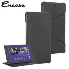 Encase Folding Sony Z3 Tablet Compact Leather-Style Stand Case - Black