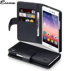 Encase Huawei Ascend P7 Genuine Leather Wallet Case - Black