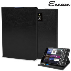 Encase Leather-Style BlackBerry Passport Wallet Case - Black