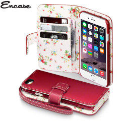 Encase Leather-Style iPhone 6 Wallet Case - Floral Red