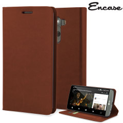 Encase Leather - Style LG G3 Wallet Case - Brown