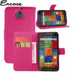 Encase Leather-Style Motorola Moto X 2nd Gen Wallet Case - Hot Pink