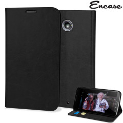 Encase Leather-Style Nexus 6 Wallet Case - Black