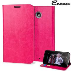 Encase Leather-Style Nexus 6 Wallet Case - Hot Pink