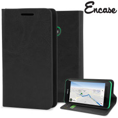 Encase Leather-Style Nokia Lumia 530 Wallet Case With Stand - Black