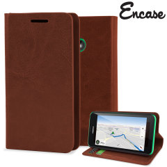 Encase Leather-Style Nokia Lumia 530 Wallet Case With Stand - Brown